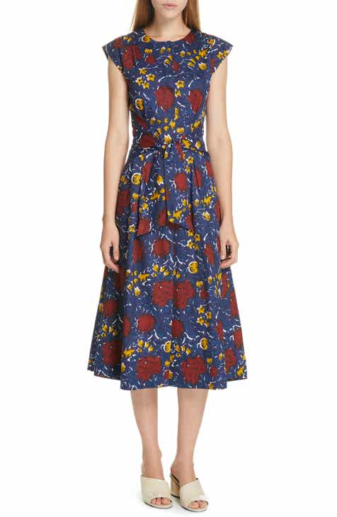 Sea Willow Belted Floral Print Midi Dress by SEA