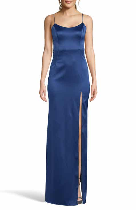 3f7bbc3aac85 Xscape Satin Front Slit Evening Dress