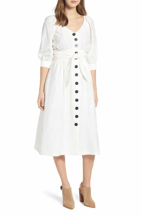 9824d08666 MOON RIVER Puff Sleeve Tie Waist Dress