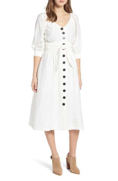 04a50c6ccf79 MOON RIVER Puff Sleeve Tie Waist Dress