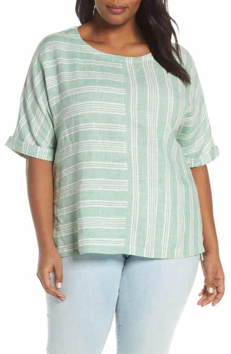 fe43759e7e Caslon® Mix Stripe Linen Popover Top (Plus Size)
