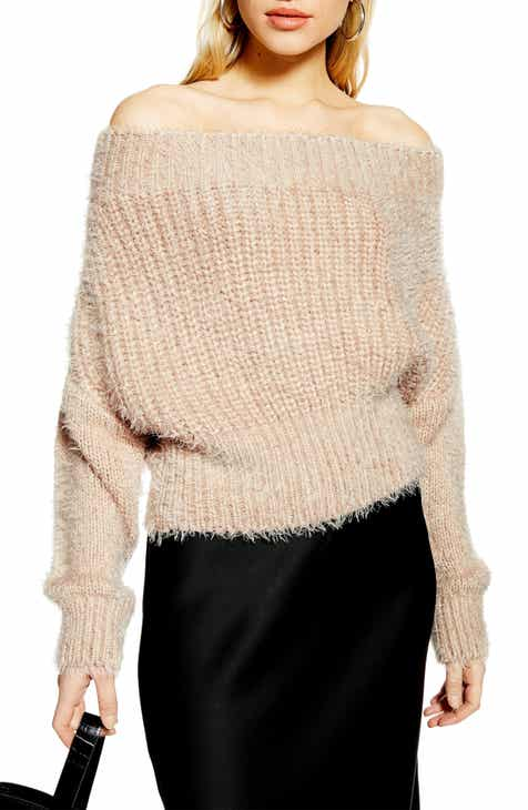 46758e07fe Topshop Fluffy Off the Shoulder Sweater
