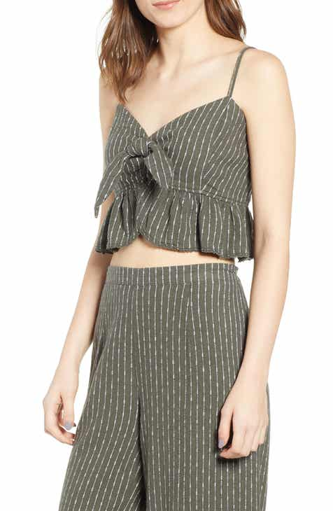 Unionbay Bianca Stripe Linen Blend Crop Top by UNIONBAY