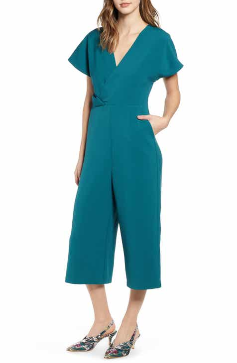 Leith Surplice Wide Leg Crop Jumpsuit by LEITH