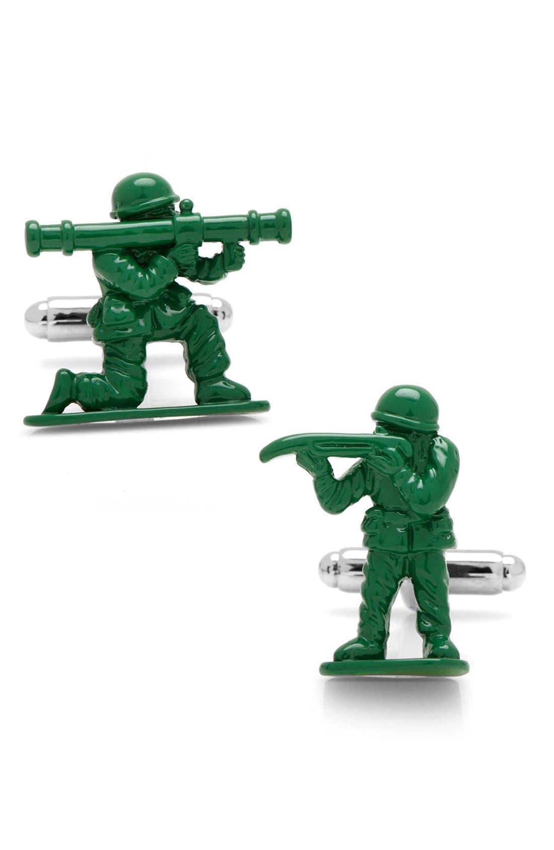 Green Army Men Cuff Links,                             Main thumbnail 1, color,                             Silver/ Green