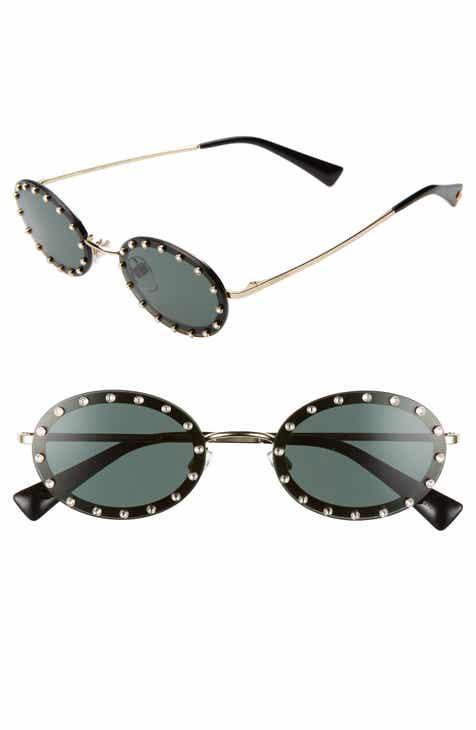 70c1be0fa1 Valentino 51mm Crystal Rockstud Oval Sunglasses