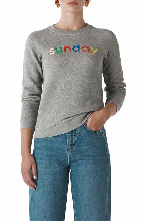 Whistles Sunday Marled Cotton Sweatshirt by WHISTLES