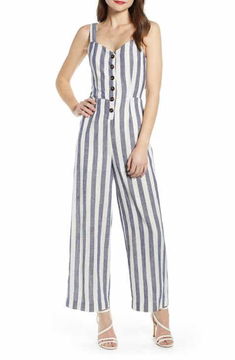 J.O.A. Stripe Cotton & Linen Jumpsuit by J.O.A.