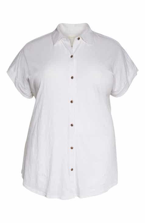 Caslon® Slub Jersey Camp Shirt (Plus Size)