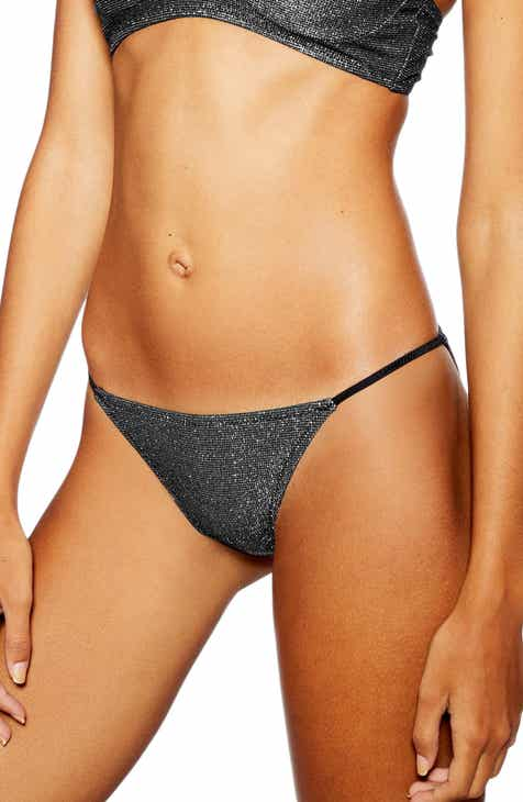 Topshop Metallic Tanga Bikini Bottoms by TOPSHOP