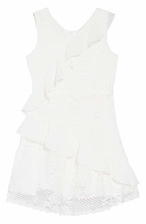 BCBG Zigzag Ruffle Mixed Lace Dress (Big Girls)
