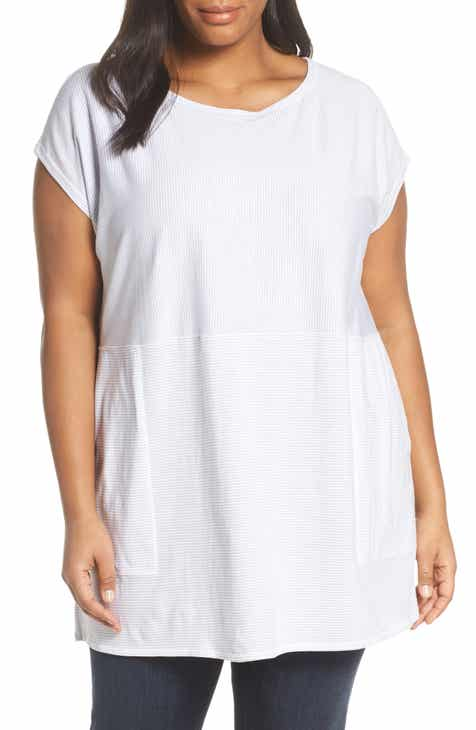 Eileen Fisher Mix Stripe Organic Cotton Tunic Top (Plus Size)