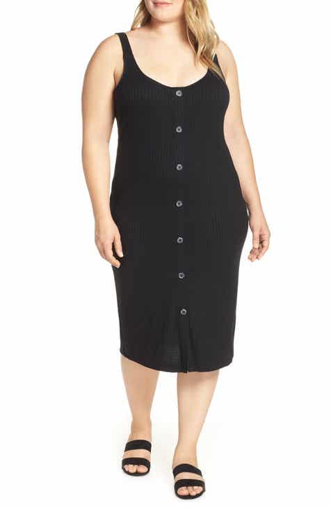 293feedf5e6 Button Front Body-Con Midi Dress (Plus Size).  39.00. Product Image