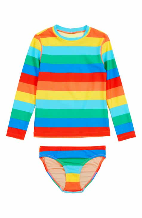 crewcuts by J.Crew Rashguard Top & Bikini Bottoms (Toddler Girls, Little Girls & Big Girls)
