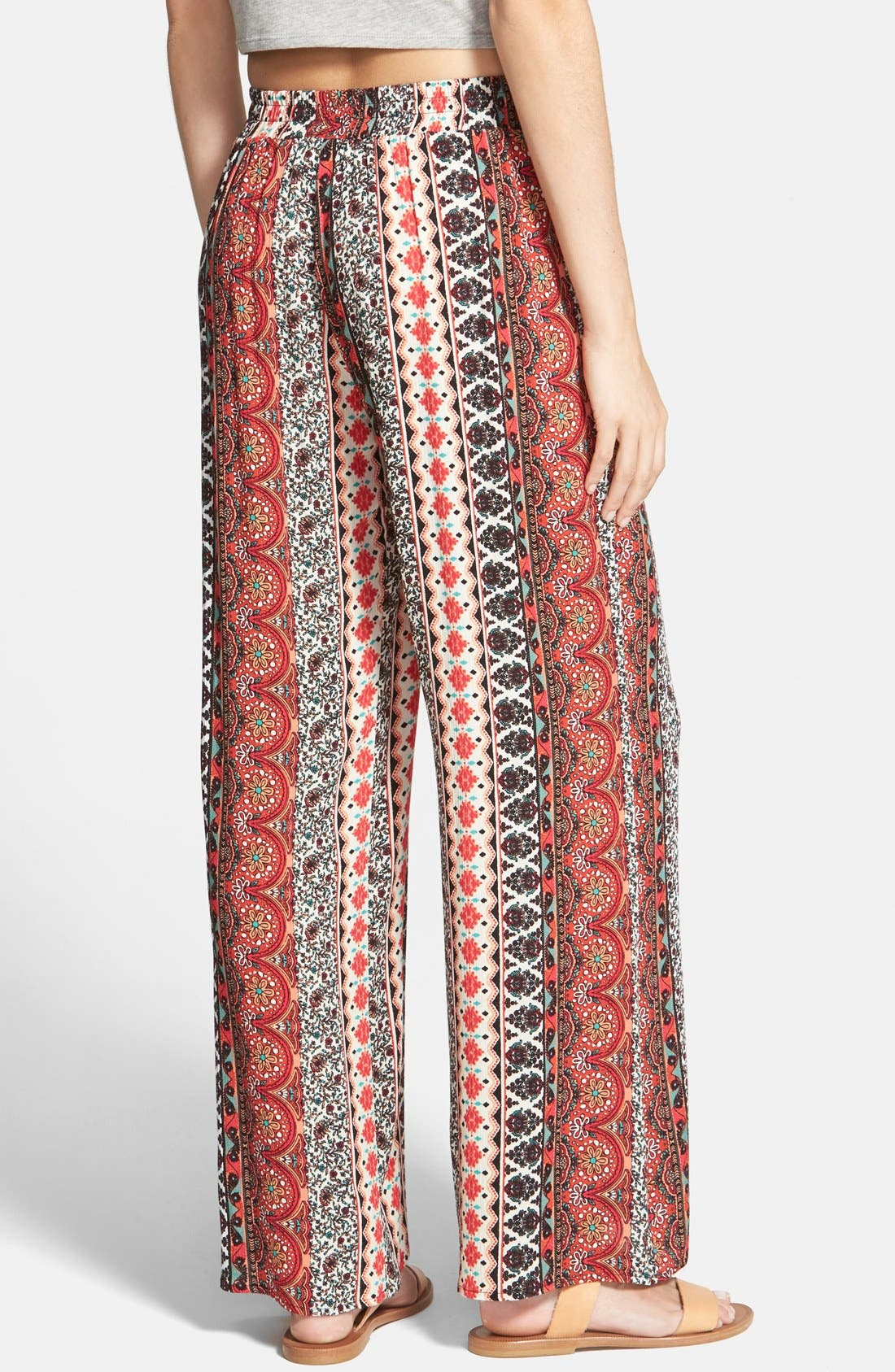 Alternate Image 2  - h.i.p. Print Gauze Palazzo Pants (Juniors)