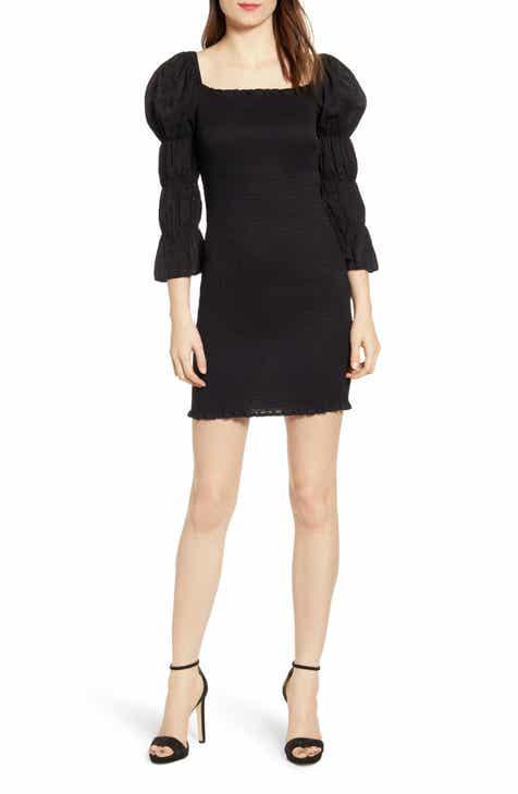 b5dd2a38bb J.O.A. Smock Puff Sleeve Body-Con Minidress