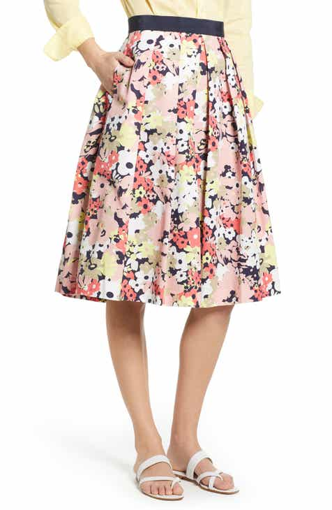 7e61ed2537d 1901 Full Floral Stretch Cotton Skirt
