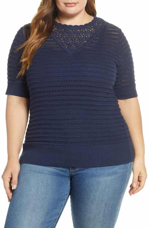 f961a429e4faa Lucky Brand Crochet Sweater (Plus Size)