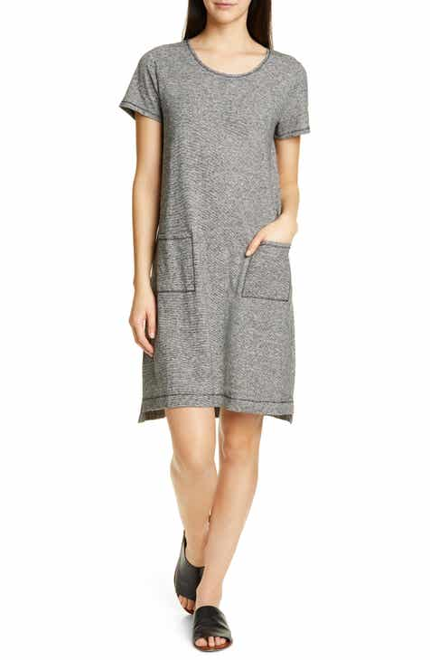 Eileen Fisher Scoop Neck Hemp Blend T-Shirt Dress by EILEEN FISHER