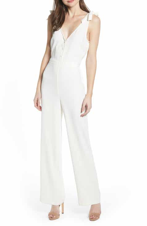 MOON RIVER Lace Up Back Linen Blend Jumpsuit by MOON RIVER