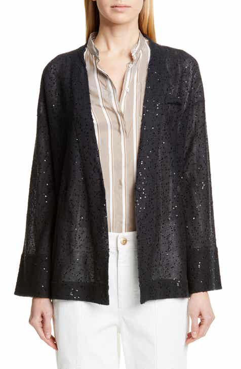 Brunello Cucinelli Sequin Linen & Silk Belted Cardigan by BRUNELLO CUCINELLI