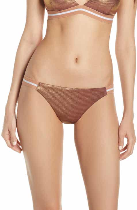 Topshop Metallic Ribbed Bikini Bottoms by TOPSHOP