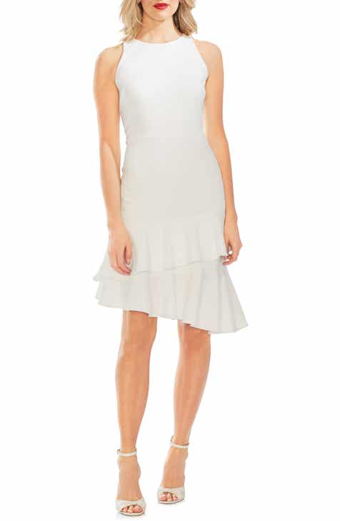 Vince Camuto Sleeveless Tiered Ruffle Crepe Dress by VINCE CAMUTO