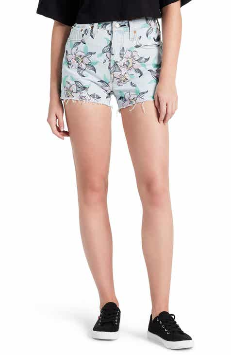 0dcdba1842b Levi s® 501® Floral Embroidered High Waist Cutoff Denim Shorts (Hella Bloom)