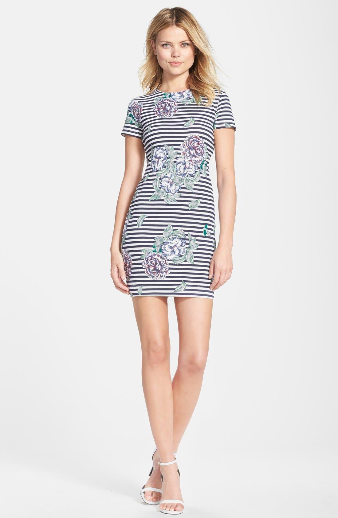 Alternate Image 3  - French Connection 'Bonita' Stripe Floral Body-Con Dress