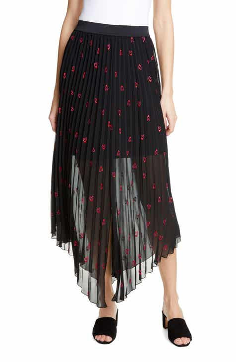 maje Jengo Embroidered Hearts Asymmetrical Pleated Skirt by MAJE