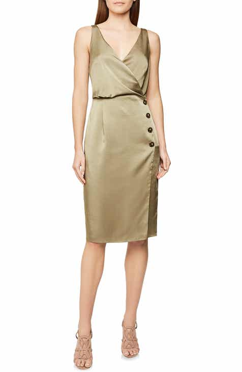Reiss Peppa Button Detail Sleeveless Hammered Satin Dress