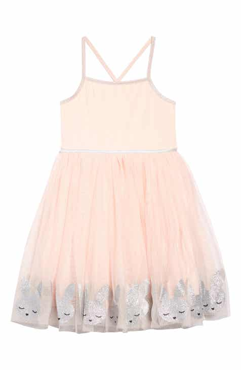 59a7a3a6872 Zunie Border Bunny Fit   Flare Tulle Dress (Toddler Girls