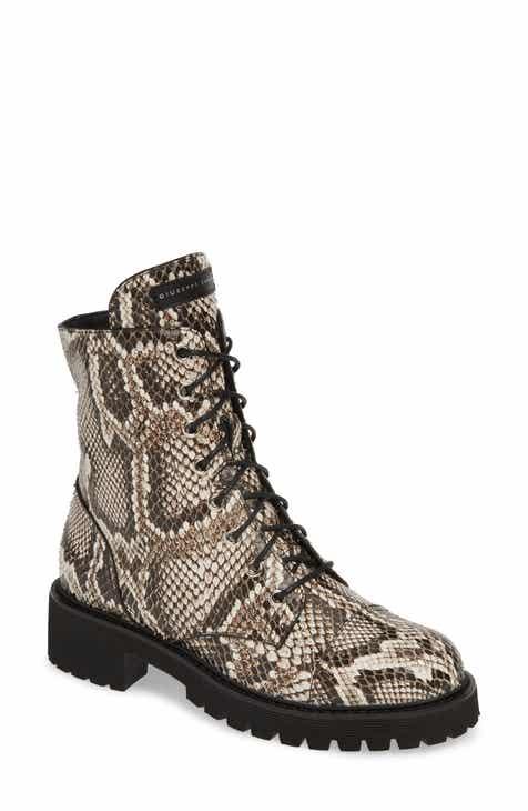 3ec39776cf9bf Giuseppe Zanotti Snake Embossed Combat Boot (Women)