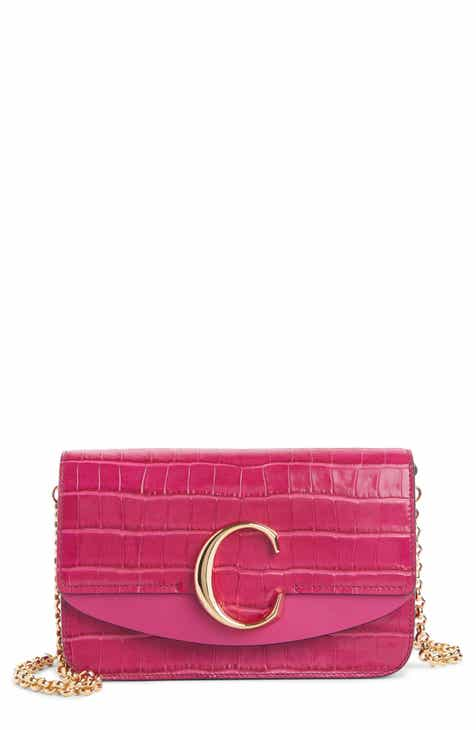 d1b66790a2a4 Chloé Mini C Croc Embossed Leather Shoulder Bag
