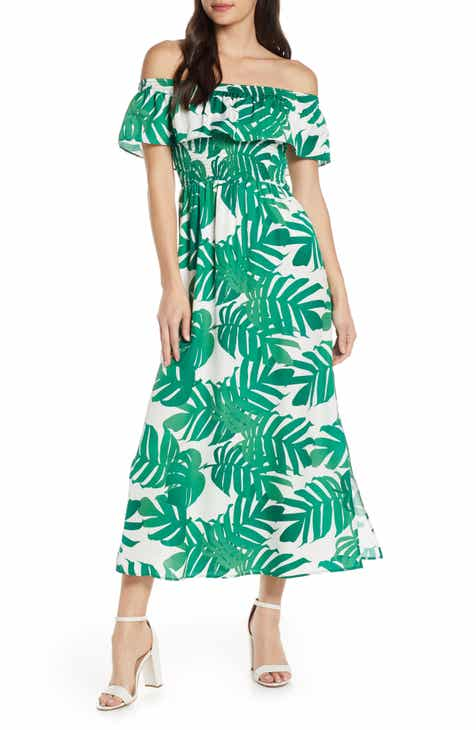 f2e64ea9b23 Bardot Palm Leaf Print Off the Shoulder Maxi Dress