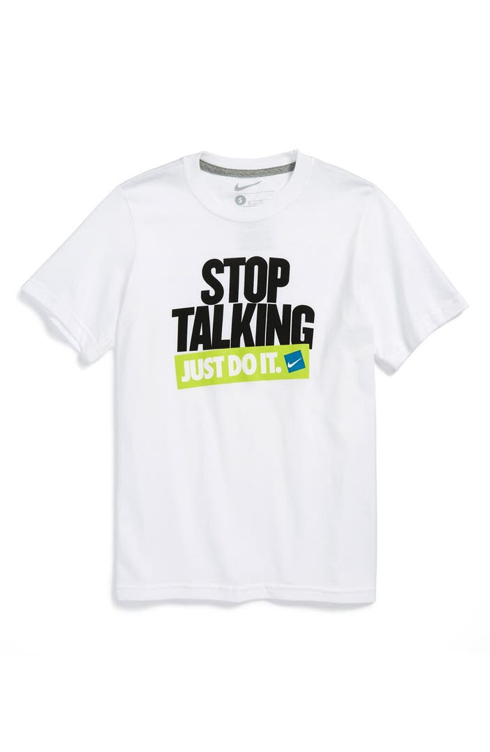 Nike 39 Stop Talking Just Do It 39 T Shirt Big Boys Nordstrom