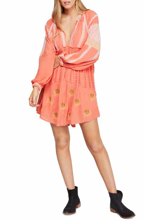0502a0d6dfda8e Free People Wild Horses Embroidered Long Sleeve Minidress