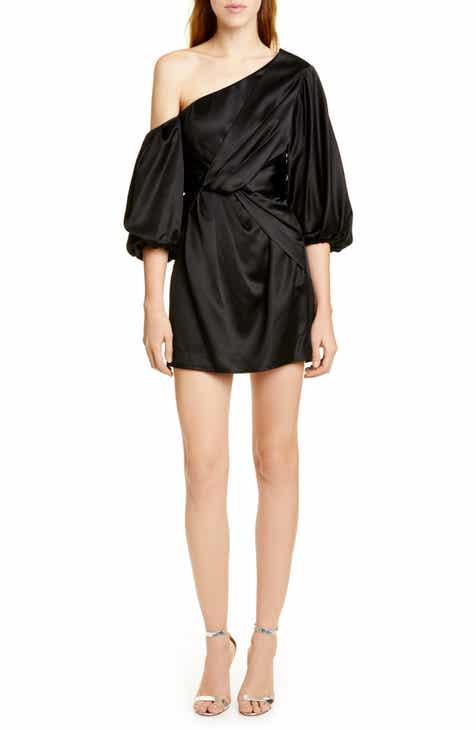 AMUR Alessandra One-Shoulder Satin Minidress