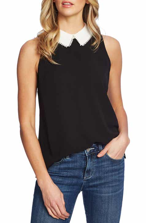 7213539f CeCe Collared Sleeveless Top