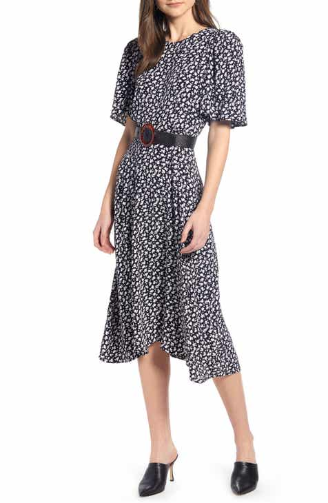 1ca3fe3c10ba Something Navy Strong Shoulder Floral Print Midi Dress (Nordstrom Exclusive)