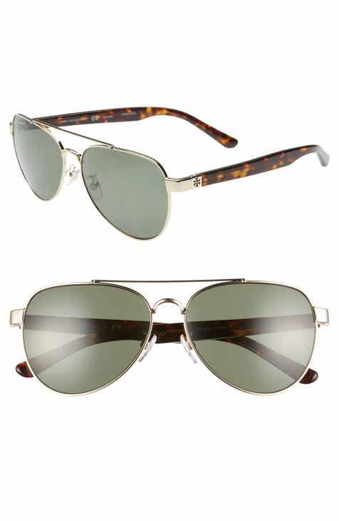 3f1ec5065 Tory Burch 57mm Polarized Aviator Sunglasses