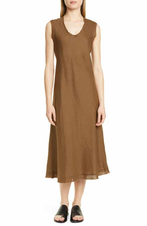 7351b6ae82d Eileen Fisher Shaped Sleeveless Linen Tank Dress (Regular   Petite)