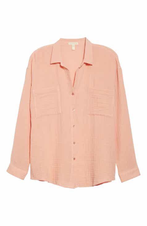 aeca14cee9568 Eileen Fisher Crinkled Cotton Button Up Blouse (Regular & Petite)