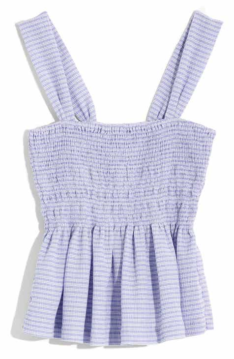 bd20901d37f Madewell Texture   Thread Stripe Smocked Peplum Tank (Regular   Plus Size)