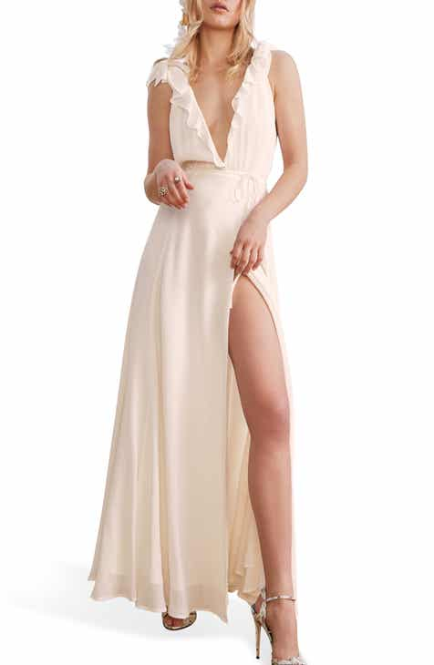 df2e59142a3 Reformation Peppermint Ruffle Wrap Maxi Dress