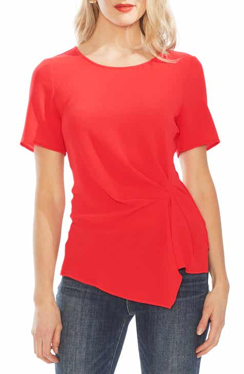 Best Choices Vince Camuto Side Pleat Mixed Media Blouse Wonderful