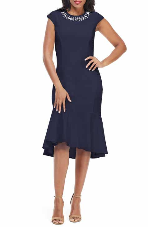 1942a6f614121 Maggy London Crystal Detail Flounce Hem Cocktail Dress (Regular & Petite)