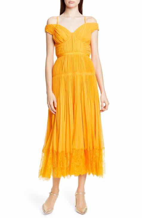 86d5ae005711 Self-Portrait Pleated Chiffon Midi Dress