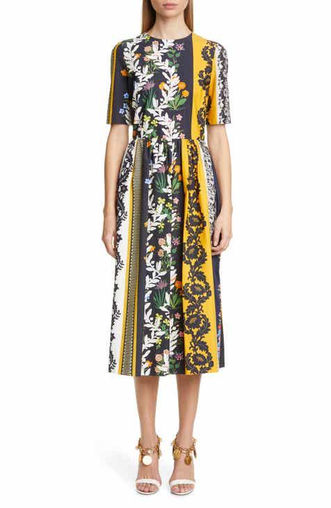 9a6df64cbe2 Oscar de la Renta Vintage Patchwork Print Poplin Midi Dress