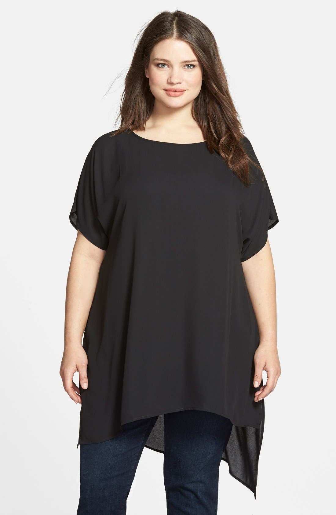 Alternate Image 1 Selected - Sejour Short Sleeve Asymmetrical Tunic (Plus Size)
